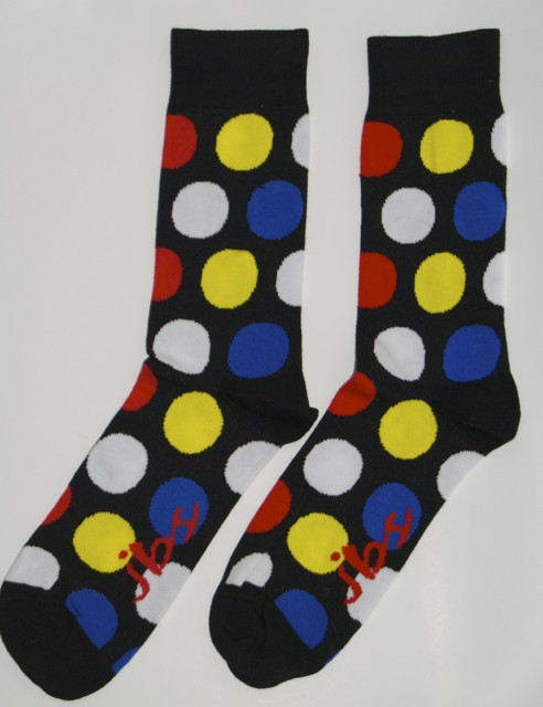 Blue Yellow Red Polka Dot Socks