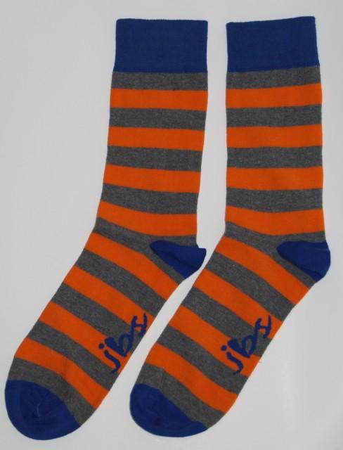 Orange Grey Striped Socks
