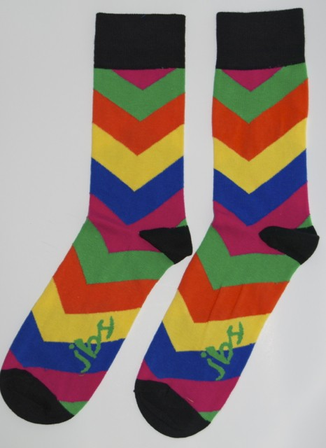 Orange Yellow Blue Arrow Striped Socks