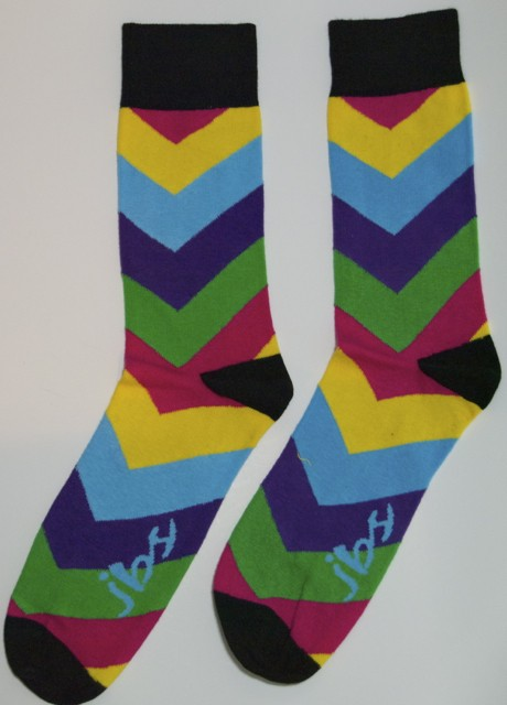 Yellow Blue Red Arrow Striped Socks