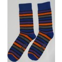 Blue, Orange, and Purple Colored Striped socks