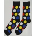 Blue & Red Colored Socks with Large polka dots