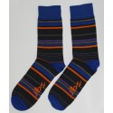 Dark Blue colored socks with a thin Orange stripe