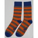 Grey & Orange Colored Striped Socks
