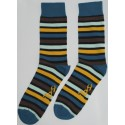 Yellow and Green Colored Striped Socks