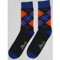 Orange, Purple, and Dark Blue Colored Argyle Socks