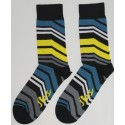 Green, yellow, & grey colored angle striped socks