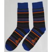 Dark Blue Orange Striped Socks