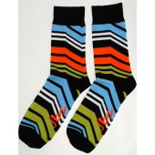 Orange Blue Angle Striped Socks