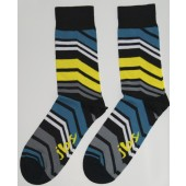 Yellow Blue Angle Striped Socks